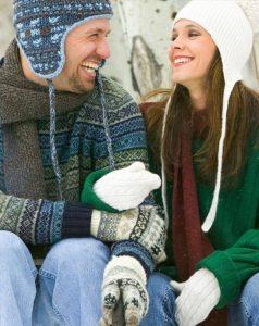 Couple enjoying winter weather